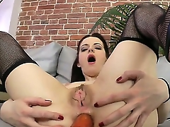 Unnerved night-time amateur Lizaveta K gets dildo give her tight tochis hole as she sucks a permanent boner
