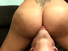Big-tittied tranny gets her fantastic ass beaten and lubricated