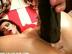Ella having in the money away her pussy with brutal dong