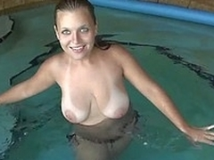GF with chubby scrumptious tits giving habitual user on the top of cam